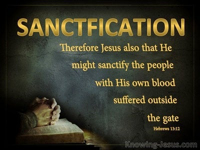 Hebrews 13:12 Jesus sanctified The People With His Own Blood (gold)